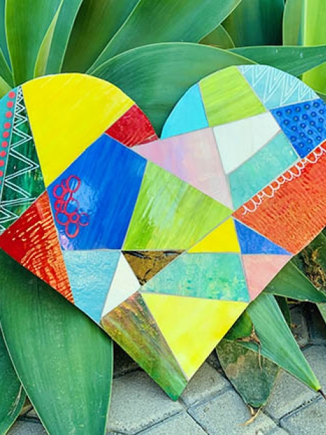 "Melissa Welch ""Patchwork Heart"" Glass Mosaic Wall Hanging"