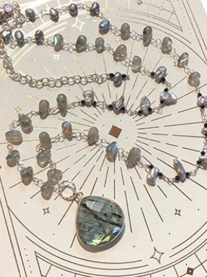 "Allie Hanson ""Labradorite, Pearl, Spinel and Sterling Silver Necklace"""