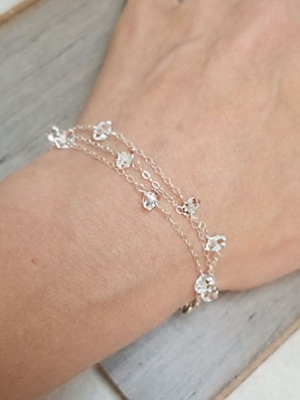 "Allie Hanson ""Sterling Silver Bracelet Studded w/ Herkimer Diamonds"""