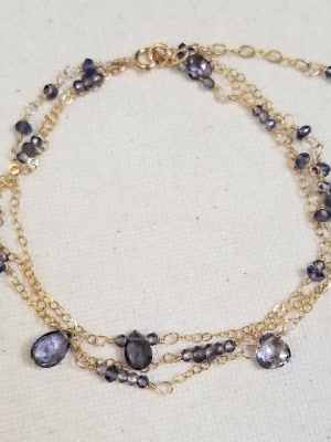 Allie Hanson, Gold-filled Bracelet w/ Iolite Gemstones