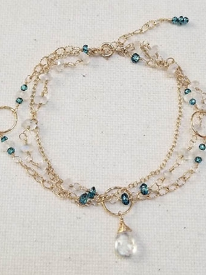 "Allie Hanson ""Multi-strand Moonstone and London Blue Topaz Bracelet"""